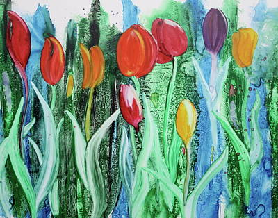 Art Print featuring the painting Tulip Season by Nancy Jolley