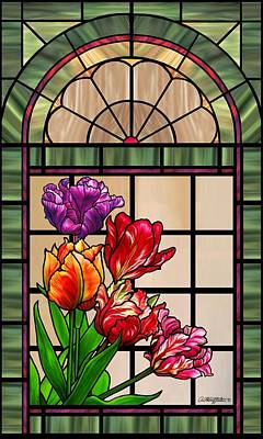 Mixed Media - Tulip Stained Glass Window Design by Anthony Seeker