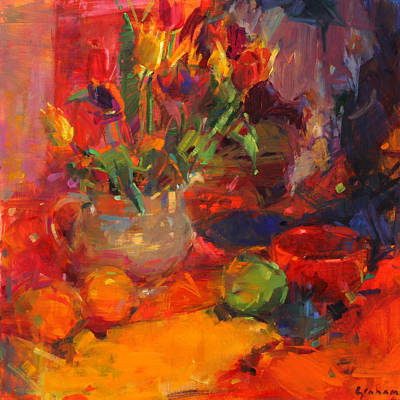 Food And Beverage Painting - Tulip Table by Peter Graham