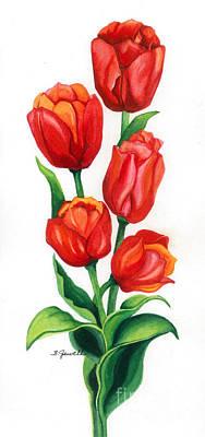 Orange Tulip Painting - Tulip Time by Barbara Jewell