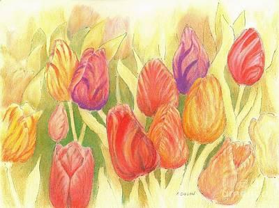 Mixed Media - Tulip Treasures by Frances  Dillon