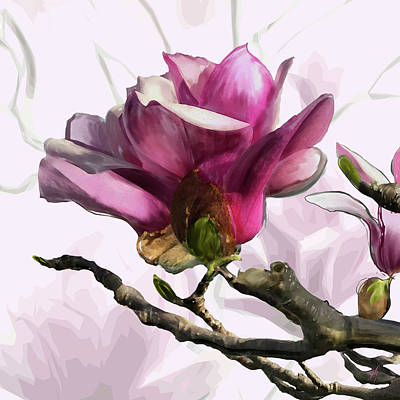 Digital Art - Tulip Trees by Gina Harrison