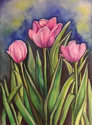 Painting - Tulip Trinity by Linda Nielsen