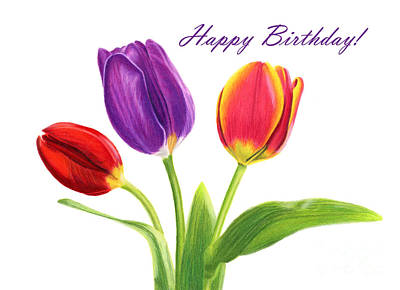 Pinks And Purple Petals Painting - Tulip Trio- Happy Birthday Cards by Sarah Batalka