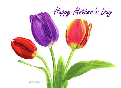 Pinks And Purple Petals Painting - Tulip Trio- Happy Mother's Day Cards by Sarah Batalka