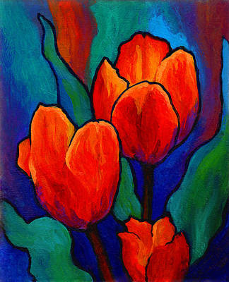 Flower Fields Painting - Tulip Trio by Marion Rose