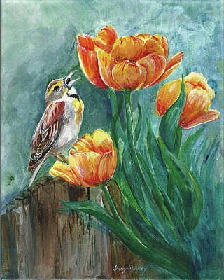 Painting - Tulip Tweets by Sherry Shipley