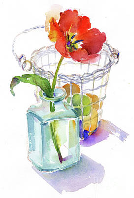 Single Object Painting - Tulip With Egg Basket by John Keeling
