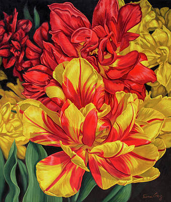 Tulip Mania Painting - Tulipomania 14 Red And Yellow by Fiona Craig