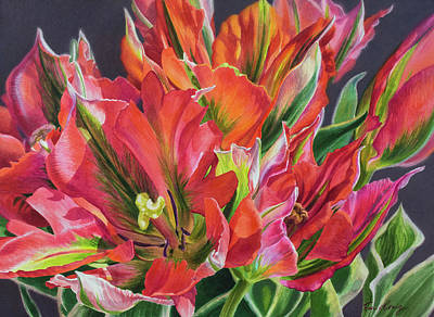 Red Tulip Painting - Tulipomania 5 Ablaze by Fiona Craig