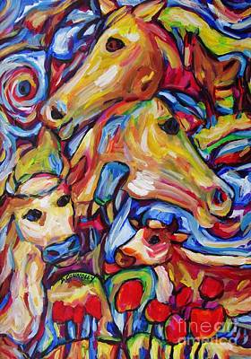 Painting - Tulippy Cows And Horses by Dianne  Connolly