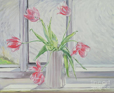 Pink Tulip Painting - Tulips Against Moving Water by Timothy Easton