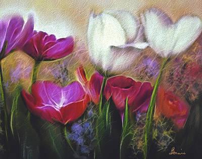 Digital Art - Tulips Aglow by Bonnie Willis