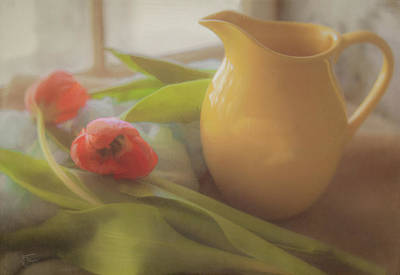Photograph - Tulips And A Yellow Pitcher In The Morning Light by Teresa Wilson
