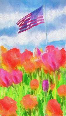 Painting - Tulips And American Flag by Dan Sproul