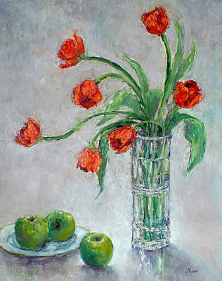 Painting - Tulips And Apples by Jill Musser