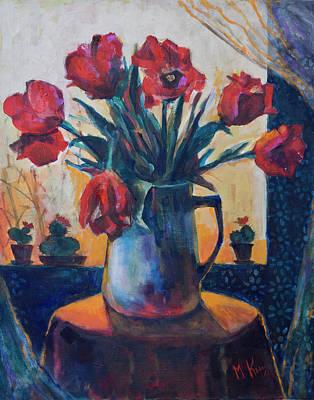 Tulips And Cacti Art Print