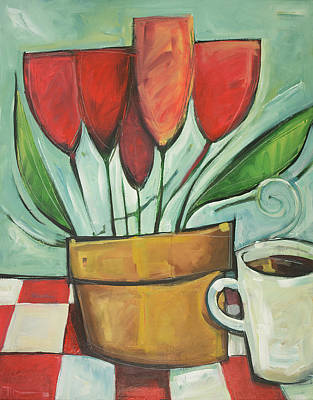 Painting - Tulips And Coffee Reprise by Tim Nyberg