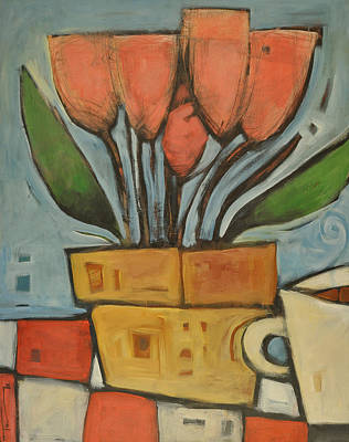 Coffee Painting - Tulips And Coffee by Tim Nyberg