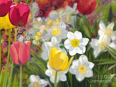 Tulips And Daffodils Art Print by Nicole Shaw