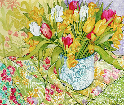 Still Life With Daffodils Painting - Tulips And Daffodils With Patterned Textiles by Joan Thewsey