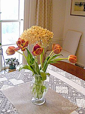 Photograph - Tulips And Dried Hydrangea by Nancy Kane Chapman