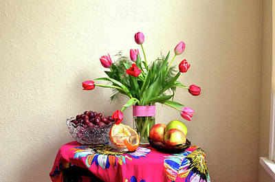 Wall Art - Photograph - Tulips And Fruit by Wendy Blomseth