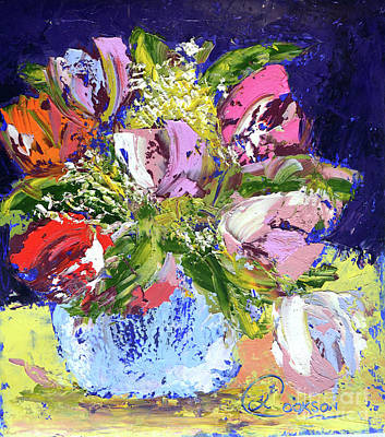 Painting - Tulips And Gypsophila by Lynda Cookson