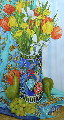 Orange Tulip Painting - Tulips And Iris In A Japanese Vase, With Fruit And Textiles by Joan Thewsey