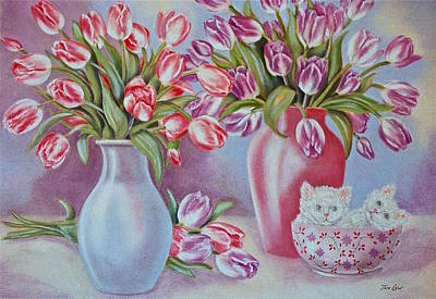 Tulips And Kittens Print by Jan Law