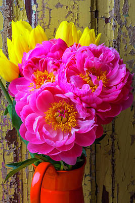 Tulips And Peony's Art Print by Garry Gay