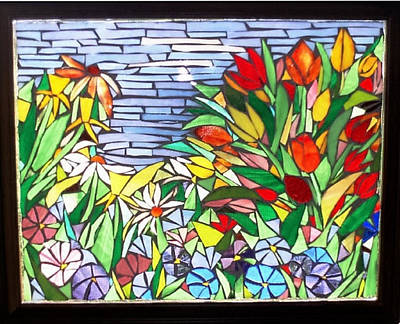 Glass Art - Tulips And Petunias by Liz Lowder