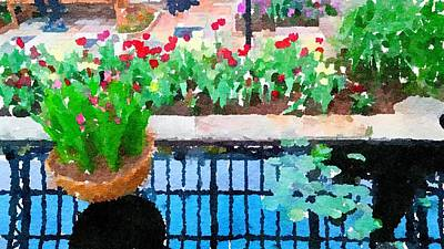 Painting - Tulips And Pond by Leah Lambart