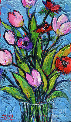 Tulips And Poppies - Impasto Palette Knife Oil Painting Original by Mona Edulesco