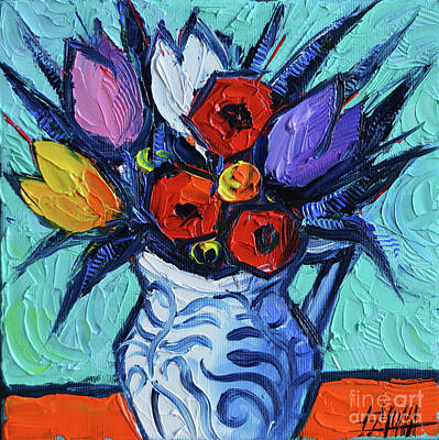 Tulips And Poppies Mini Still Life Original by Mona Edulesco