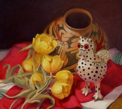Art Print featuring the painting Tulips And Pottery by Donelli  DiMaria