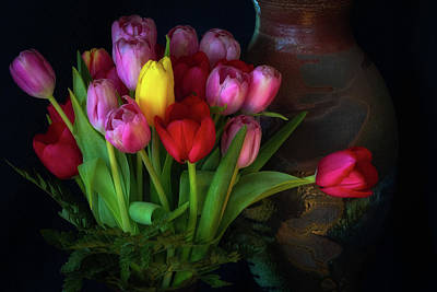 Photograph - Tulips And Raku Vase by Jade Moon
