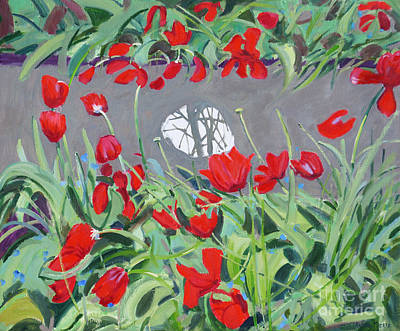 Red Tulip Painting - Tulips And Reflection by Andrew Macara