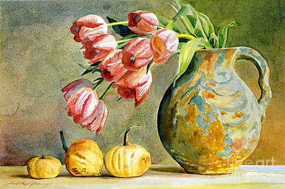 Tulips Watercolor Wall Art - Painting - Tulips And Squash by David Lloyd Glover
