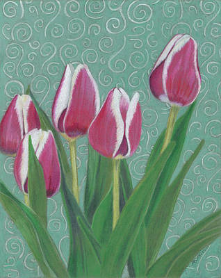 Painting - Tulips And Swirls by Arlene Crafton