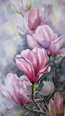 Painting - Tulips And Titmouse by Mary McCullah