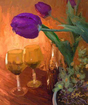 Tulips And Wine Original by Tina Boyle-Dera