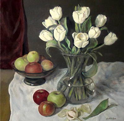 Painting - Tulips, Apples And Velvet Drape by Robert Holden