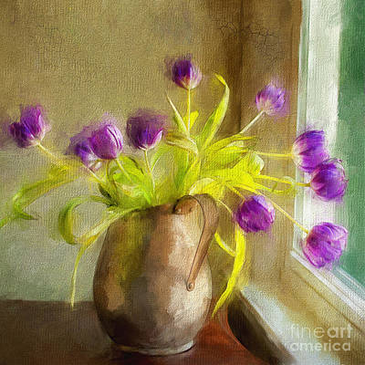 Still Life Mixed Media - Tulips Arrayed by Terry Rowe