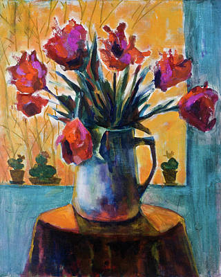 Painting - Tulips At Sunset by Maxim Komissarchik