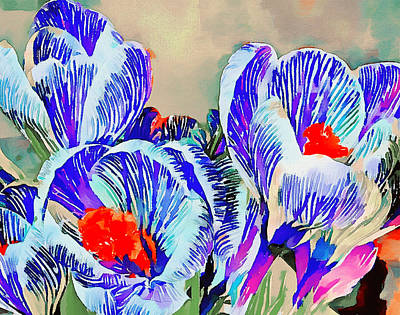 Digital Art - Tulips Blue by Yury Malkov
