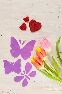 Tulips Butterflies And Hearts As Spring Courier Art Print