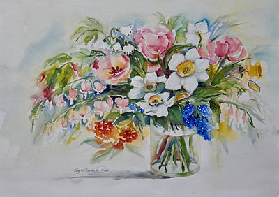 Painting - Tulips Daffodils And Bleeding Hearts by Ingrid Dohm