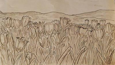 Stamen Drawing - Tulips Dream Sketch by Felicia Tica