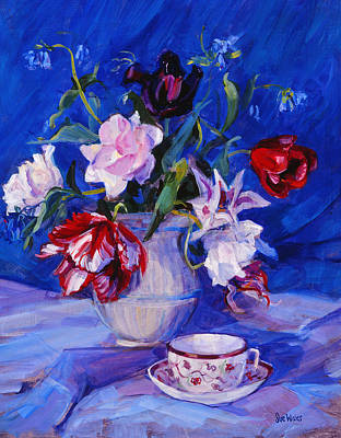 Table Cloth Painting - Tulips From My Garden by Sue Wales